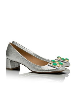Tory Burch Metallic Studded Leather Chunky Chic Silver Pumps