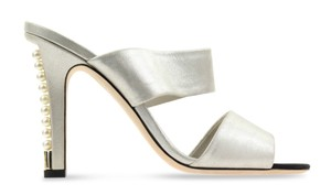Chanel Mule Stiletto Sandal Pearl Backless Silver Pumps