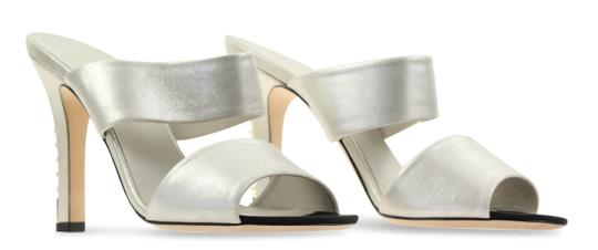 Chanel Mule Stiletto Sandal Pearl Backless Silver Pumps Image 1