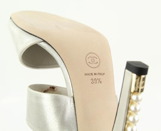 Chanel Mule Stiletto Sandal Pearl Backless Silver Pumps Image 10