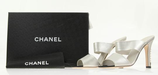Chanel Mule Stiletto Sandal Pearl Backless Silver Pumps Image 11