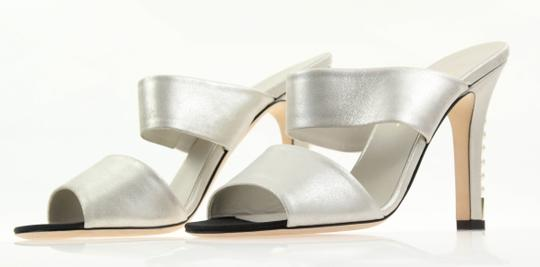 Chanel Mule Stiletto Sandal Pearl Backless Silver Pumps Image 3