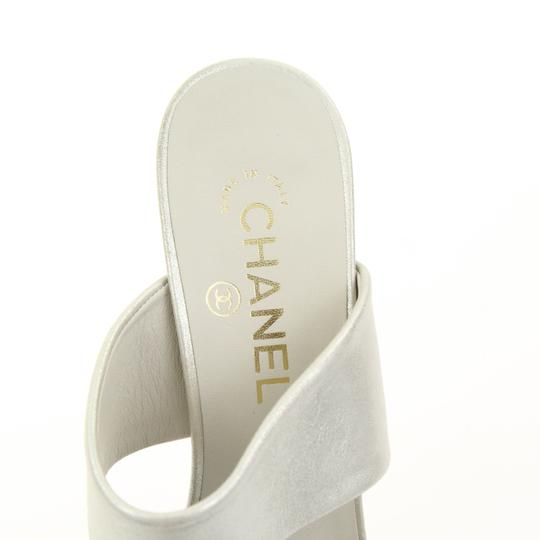 Chanel Mule Stiletto Sandal Pearl Backless Silver Pumps Image 6