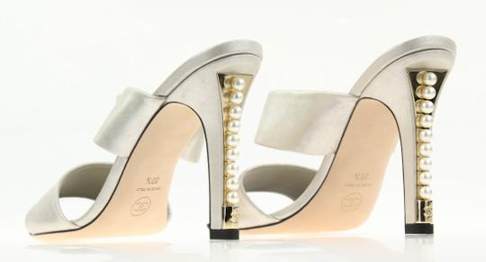 Chanel Mule Stiletto Sandal Pearl Backless Silver Pumps Image 8