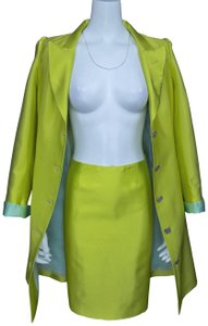 Christian Lacroix Vintage Chartreuse Topper Jacket / Skirt Suit