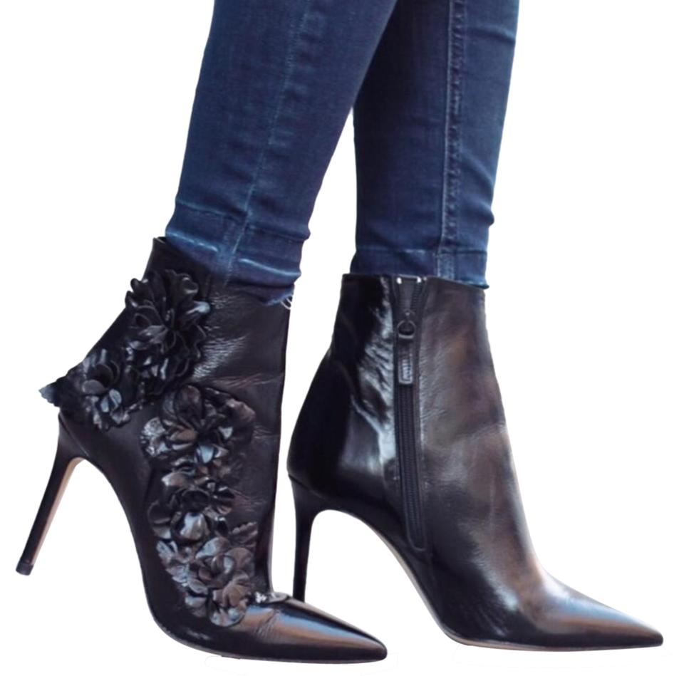 ad7d1273dc899 Zara Black High Heel Leather Ankle with Floral Details Boots Booties ...