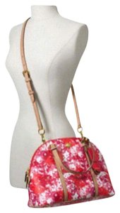 Coach Satchel in pink red multi colored