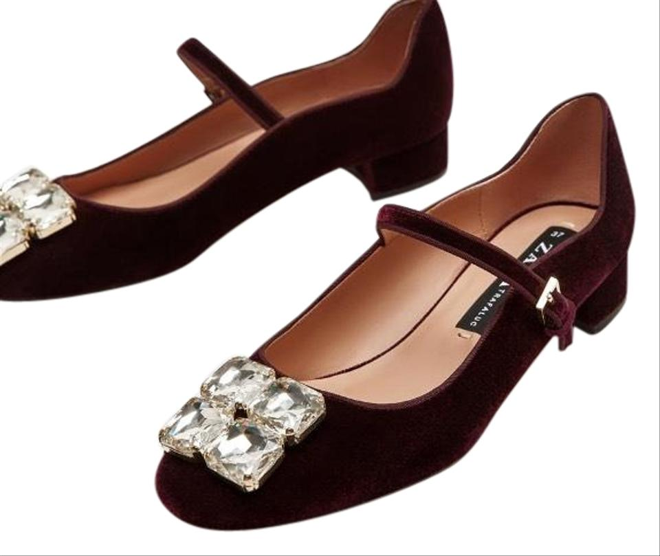 LADY Zara sale Velvet Embellished Flats Big sale Zara 62eb92