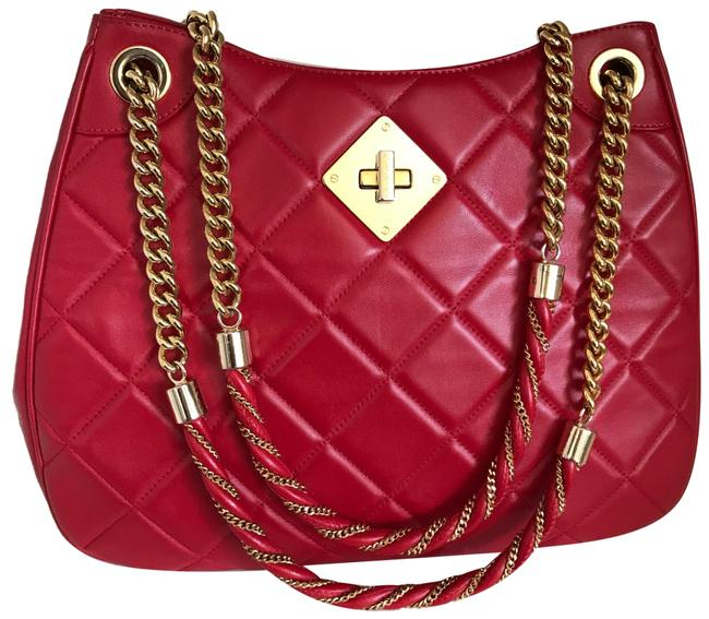 Item - Chain Quilted Red Lambskin Leather Shoulder Bag