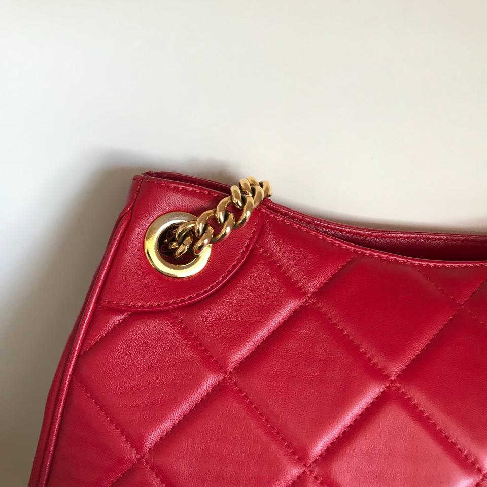 5d03925979a Moschino Chain Quilted Red Lambskin Leather Shoulder Bag - Tradesy