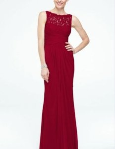 David's Bridal Apple Red Sleeveless Long Mesh Dress With Corded Lace Style F15749 Dress