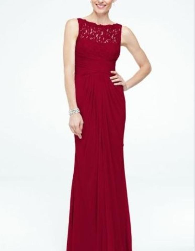 6f2f80fe7050b David s Bridal Apple Red Sleeveless Long with Corded Lace Style F15749  Formal Bridesmaid Mob Dress ...
