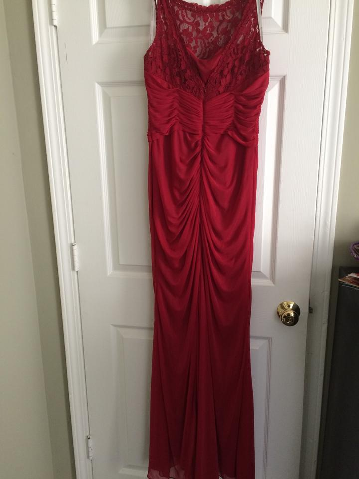 76a440d7b9866 David s Bridal Apple Red Sleeveless Long with Corded Lace Style F15749  Formal Bridesmaid Mob Dress. 123
