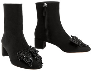 Zara Bow Sequin Beaded Embellished Embroidered black Boots