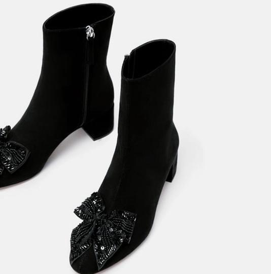Zara Bow Sequin Beaded Embellished Embroidered black Boots Image 1