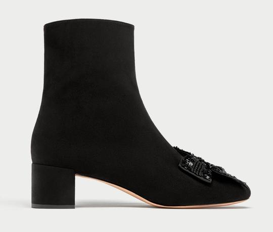 Zara Bow Sequin Beaded Embellished Embroidered black Boots Image 3