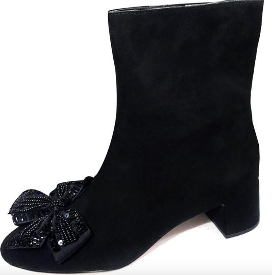 Zara Bow Sequin Beaded Embellished Embroidered black Boots Image 4