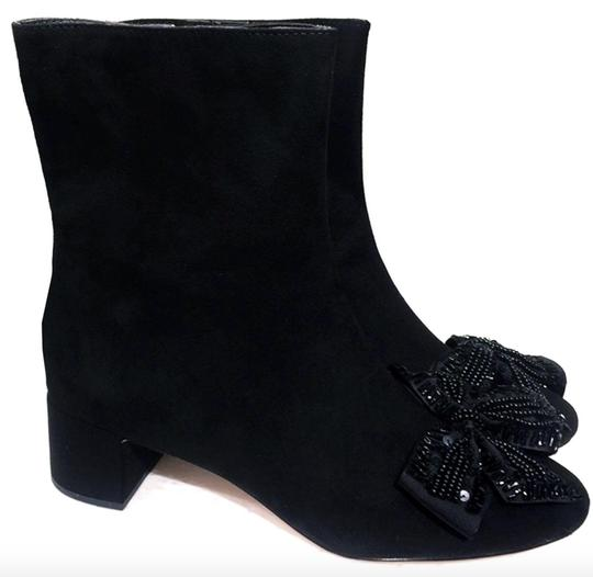 Zara Bow Sequin Beaded Embellished Embroidered black Boots Image 5