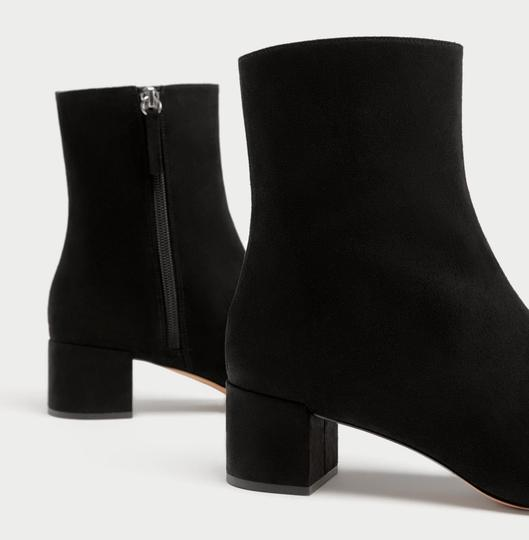Zara Bow Sequin Beaded Embellished Embroidered black Boots Image 7