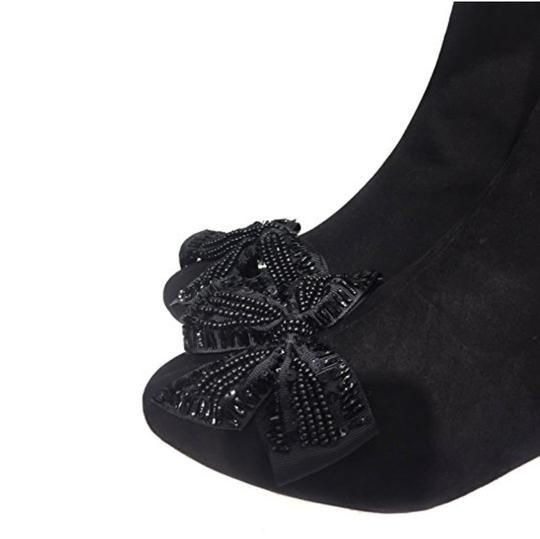 Zara Bow Sequin Beaded Embellished Embroidered black Boots Image 8