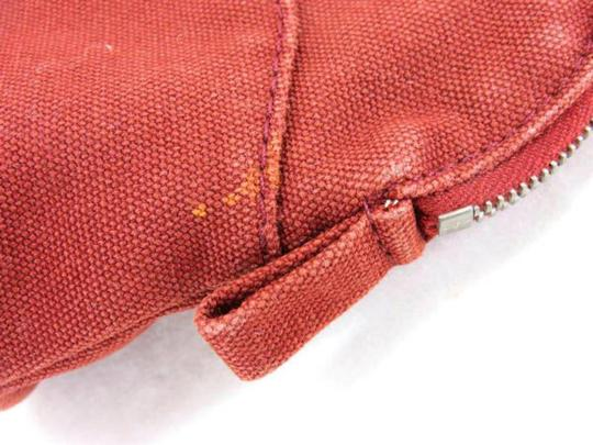 Hermès Cosmetic Pouch Make Up Toiletries Bolide Zippy Red Clutch Image 6