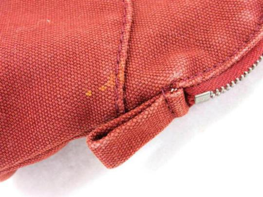 Hermès Cosmetic Pouch Make Up Toiletries Bolide Zippy Red Clutch Image 9