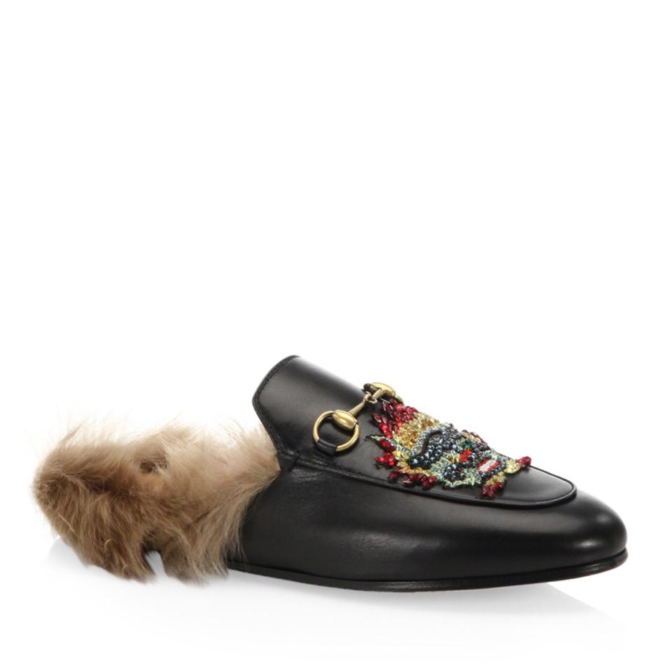 81f67de3000 Gucci Black 2018 Limited Princetown Fur Leather Mules with Dragon ...