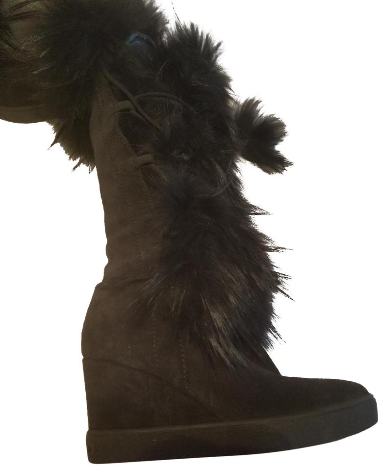 d2dfd6bd69fe Aquatalia Black Colette Suede Raccoon Fur and Shearling Wedge Boots ...
