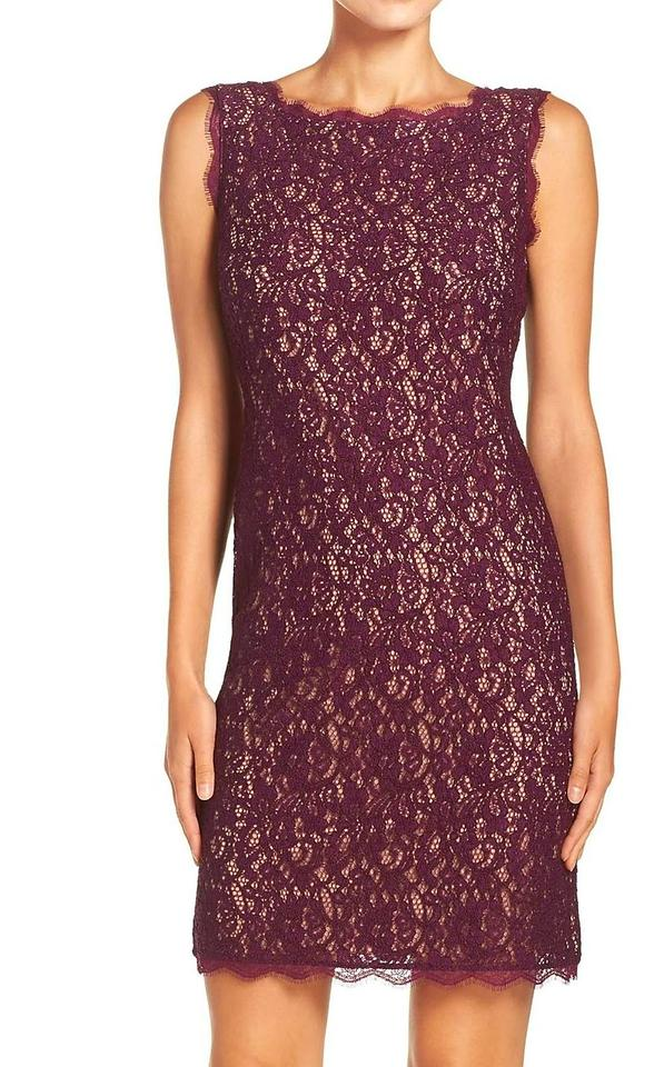 f1c4dcc0947f73 Adrianna Papell Mulberry Burgundy Nude Sleeveless Lace Short Night ...