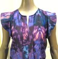 Creative Commune Flutter Sleeve Abstract Print Top Purple Image 1