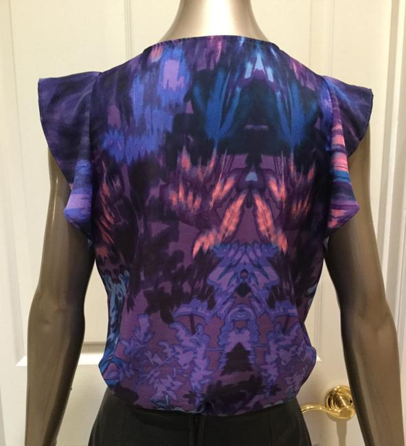 Creative Commune Flutter Sleeve Abstract Print Top Purple Image 4