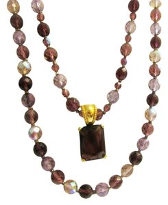 Joan Rivers Joan Rivers Amethyst Czech Glass Beaded 2 Strand Necklace with Pendant