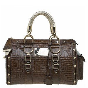 Versace Snap Out Of Patent Leather Satchel in Brown