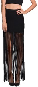 Torn by Ronny Kobo Fringe Fringe Hem Mini Stretchy Maxi Skirt Black