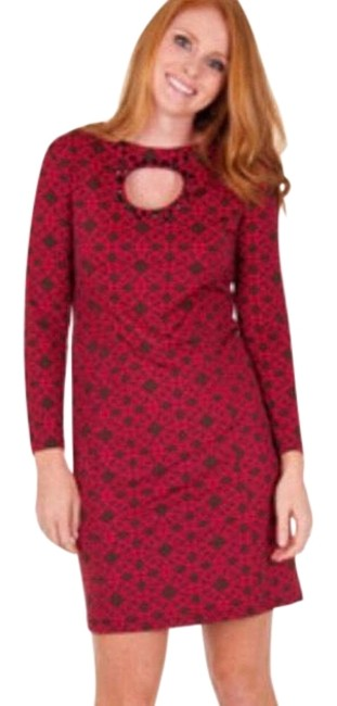 Preload https://img-static.tradesy.com/item/23073914/tracy-negoshian-brown-wred-print-ginger-octagon-short-workoffice-dress-size-14-l-0-1-650-650.jpg
