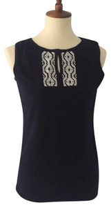 Talbots Top Navy with white beading