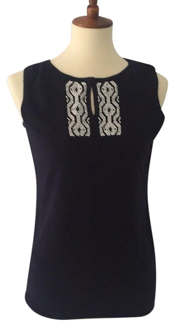 Talbots Top Navy with white beading Image 0