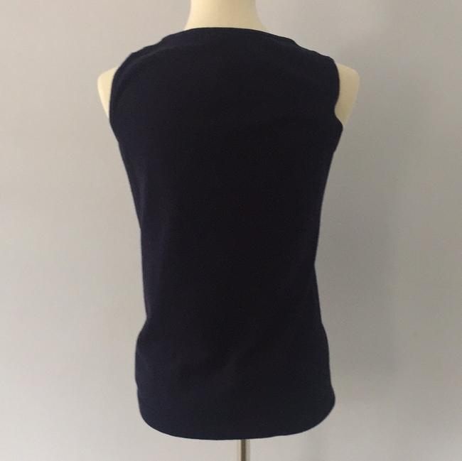 Talbots Top Navy with white beading Image 1
