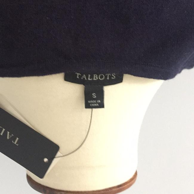 Talbots Top Navy with white beading Image 4