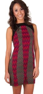 Tracy Negoshian short dress Black w/Burgundy & Green on Tradesy