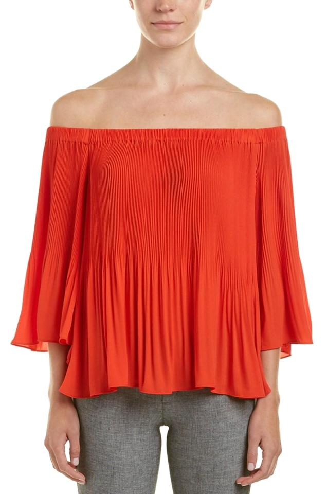 958bb3e346be Vince Camuto Red Hot Pleated Off-the-shoulder Bell Sleeve Blouse ...