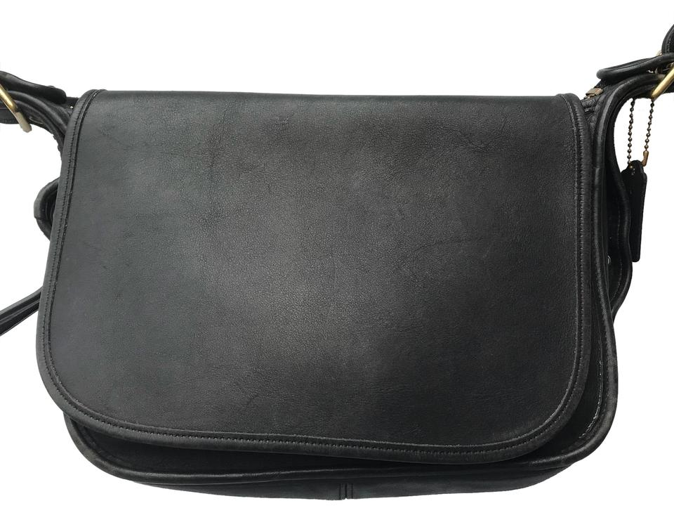 84375e7f623c Coach Patricia Saddle Vintage 9951 Legacy Flap Black Cowhide Leather ...