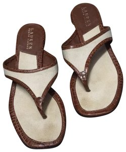 Ralph Lauren Brown and ivory Sandals