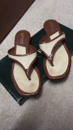 Ralph Lauren Brown and ivory Sandals Image 7