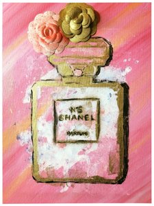 Handmade hand painted number 5 Chanel perfume bottle with painted authentic Chanel camellia