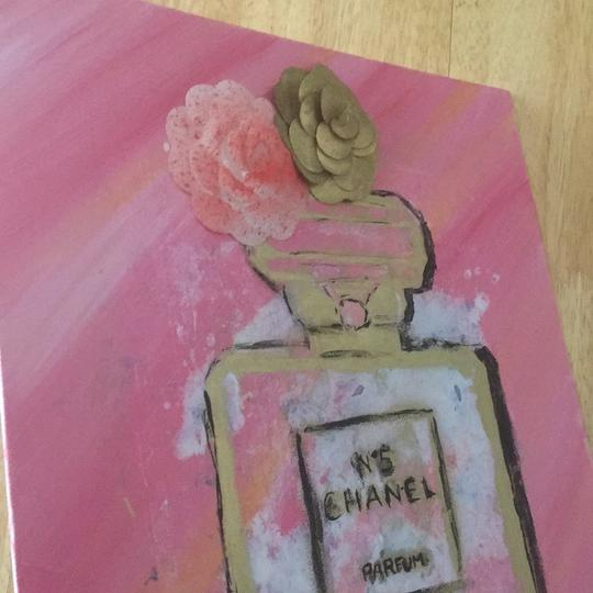 Handmade hand painted number 5 Chanel perfume bottle with painted authentic Chanel camellia Image 1