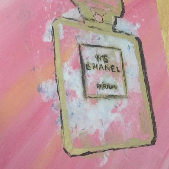 Handmade hand painted number 5 Chanel perfume bottle with painted authentic Chanel camellia Image 2