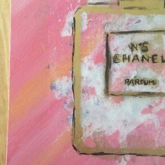 Handmade hand painted number 5 Chanel perfume bottle with painted authentic Chanel camellia Image 5