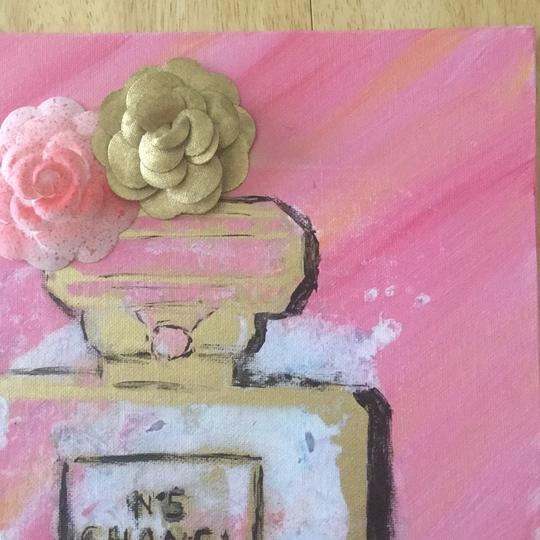 Handmade hand painted number 5 Chanel perfume bottle with painted authentic Chanel camellia Image 7