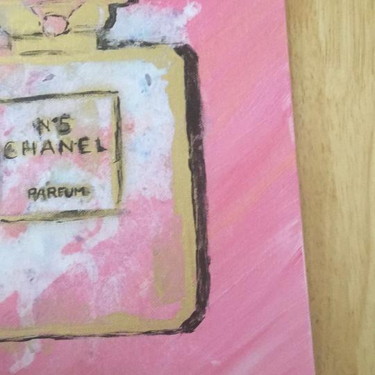Handmade hand painted number 5 Chanel perfume bottle with painted authentic Chanel camellia Image 8